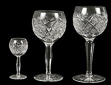 SET OF TWELVE CUT CRYSTAL STEMWARE
