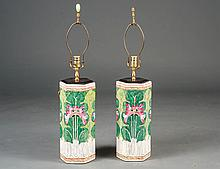 PAIR OF FAMILLE VERTE PORCELAIN VASES