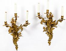 PAIR OF LOUIS XV STYLE GILT BRONZE THREE LIGHT SCONCES
