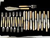 TWENTY-SIX PIECE STERLING SILVER AND SILVER PLATED ASSEMBLED FISH SERVICE