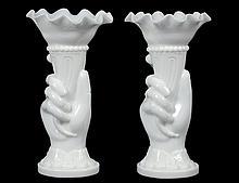 PAIR OF VICTORIAN MILK GLASS VASES