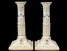 PAIR OF CONTINENTAL PORCELAIN CANDLESTICKS