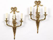 PAIR OF LOUIS XVI STYLE GILT BRONZE THREE LIGHT SCONCES