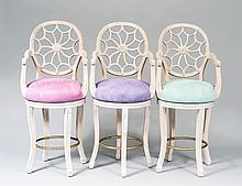 SET OF THREE PAINTED WOOD BAR ARM CHAIRS
