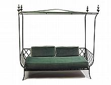 VINTAGE PAINTED IRON CANOPY DAYBED