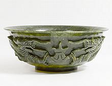 CARVED SPINACH JADE BOWL