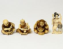GROUP OF FOUR CARVED IVORY NETSUKES