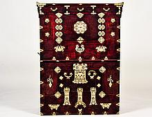METAL MOUNTED EXOTIC WOOD SIDE CABINET