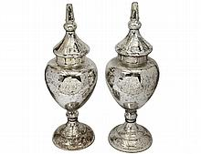 PAIR OF MERCURY GLASS URNS AND COVERS