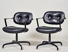 SET OF SIX KNOLL INTERNATIONAL METAL SWIVEL ARM CHAIRS