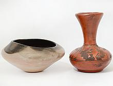 TWO AMERICAN INDIAN POTTERY VESSELS