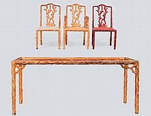 SEVEN PIECE TREE TRUNK STYLE DINING SET