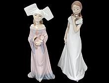 TWO LLADRO PORCELAIN FIGURES OF GIRLS