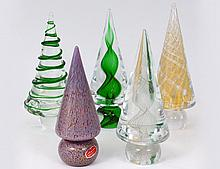 GROUP OF FIVE MURANO GLASS SPIRAL TREES