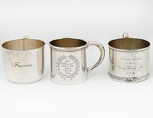 GROUP OF THREE STERLING SILVER BABY CUPS