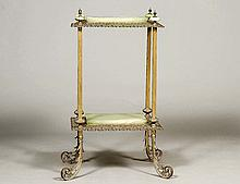 VICTORIAN STYLE PAINTED METAL AND ONYX TWO TIER STAND