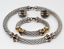 FOUR PIECE DAVID YURMAN FOURTEEN KARAT GOLD AND STERLING SILVER SUITE OF JEWELRY