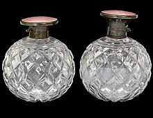 PAIR OF SILVER AND ENAMEL MOUNTED GLASS SCENT BOTTLES