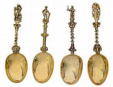 GROUP OF FOUR ASSORTED SILVER GILT SPOONS