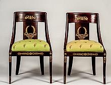 PAIR OF REGENCY GILT BRONZE MOUNTED MAHOGANY SIDE CHAIRS