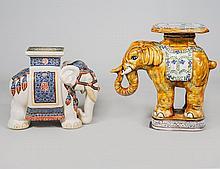 TWO GLAZED POTTERY ELEPHANT GARDEN SEATS