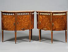 PAIR OF LOUIS XVI STYLE MARBLE TOP COMMODES