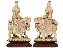 PAIR OF CARVED IVORY GROUPS