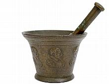 LATE RENAISSANCE BRONZE MORTAR AND PESTLE