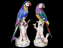 PAIR OF MEISSEN PORCELAIN PARROTS