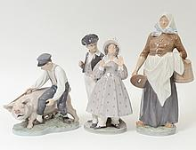 GROUP OF THREE ROYAL COPENHAGEN PORCELAIN FIGURES