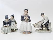 GROUP OF THREE ROYAL COPENHAGEN PORCELAIN GROUPS
