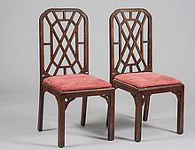SET OF FOUR FRUITWOOD DINING CHAIRS
