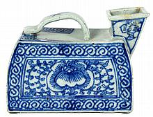 BLUE AND WHITE PORCELAIN TEA POT