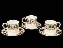 SET OF THREE ROYAL CROWN DERBY PORCELAIN CUPS AND SAUCERS