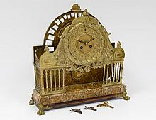 UNUSUAL BRASS AND MARBLE MANTEL CLOCK