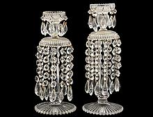 TWO REGENCY STYLE CUT GLASS CANDLE HOLDERS