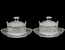 PAIR OF REGENCY STYLE CUT GLASS SAUCE BOATS, COVERS AND STANDS