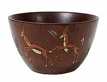 TRIBAL PAINTED WOOD BOWL