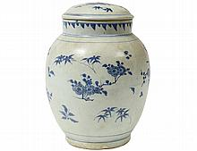 MING BLUE AND WHITE PORCELAIN JAR AND COVER