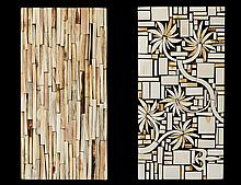 TWO CONTEMPORARY IVORY OVERLAID WOOD PLAQUES
