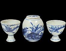 GROUP OF THREE MING BLUE AND WHITE PORCELAIN ARTICLES