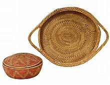TRIBAL WOVEN STRAW TRAY, BOX AND COVER