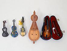 GROUP OF FIVE MINIATURE STRINGED MUSICAL INSTRUMENTS