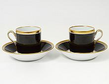 PAIR OF GINORI PORCELAIN CUPS AND SAUCERS