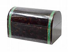 FAUX TORTOISE SHELL TILED LACQUERED CASKET