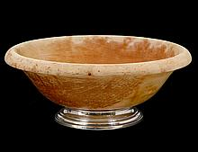 STERLING SILVER MOUNTED WOOD BOWL