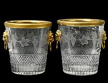 PAIR OF GILT BRONZE MOUNTED CUT GLASS WINE COOLERS
