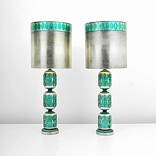 Pair of Monumental James Mont Lamps