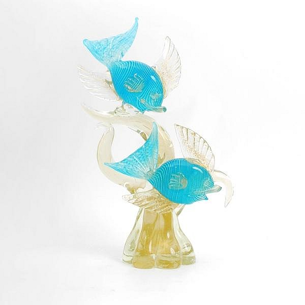 Pair of Fish on Wave by Barovier & Toso