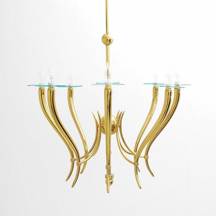Large Brass & Glass Chandelier, Gio Ponti